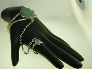 VINTAGE-G-amp-S-93-039-SILVER-W-TURQUOISE-INLAY-BIKER-SNAKE-SLAVE-BRACELET-WITH-RING