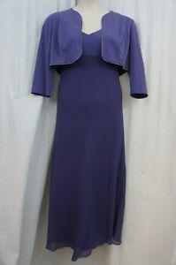 Alex Evenings Petite Jacket Dress Sz 14p Iris Purple Jersey Long