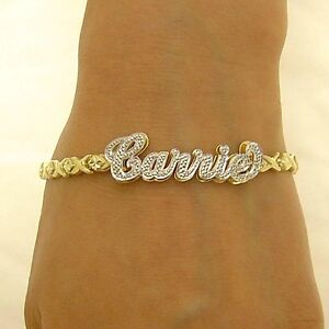 7a8e37200cc503 10k Gold Iced 3D Double Plate Name 4.5 mm XO Bracelet personalized ...