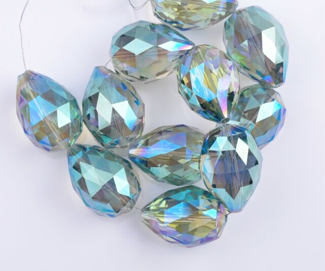 24X17mm 2PCS Green Colorized Faceted Teardrop Crystal Glass Loose Spacer Beads