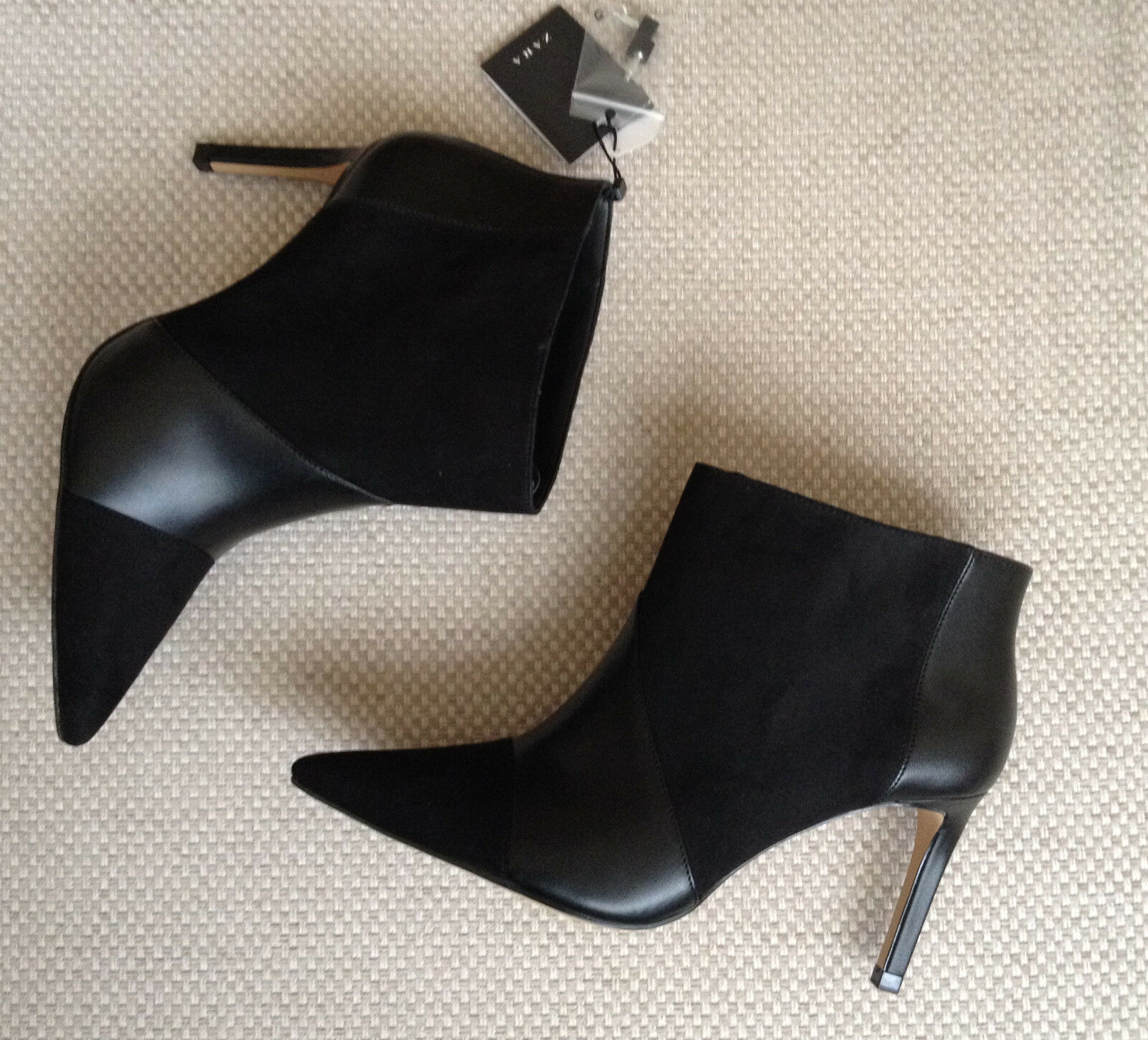 Zapatos especiales con descuento ZARA BLACK FAUX LEATHER POINTED TOE HIGH HEEL SHOES ANKLE BOOTS