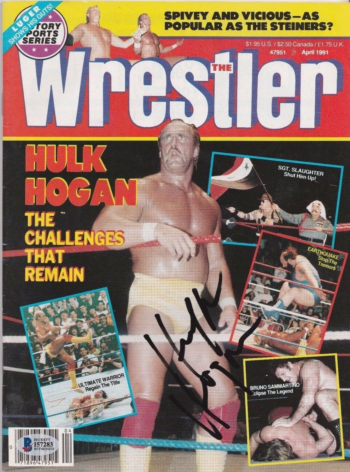 Hulk Hogan Signed April 1991 The Wrestler Magazine Beckett BAS