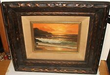 KEMBO HANZAWA SMALL OIL ON CANVAS SEASCAPE AT SUNSET PAINTING CALIFORNIA ARTIST