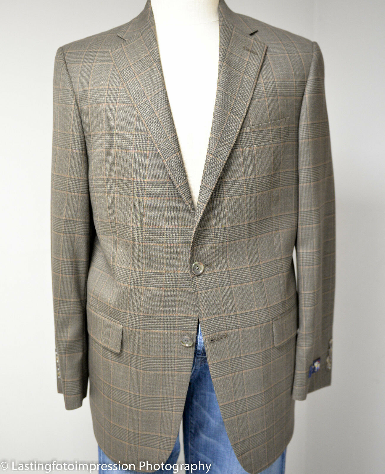 Hart Schaffner Marx Classic Fit Plaid Woolsted Wool Sport Coat, 40R , NWT
