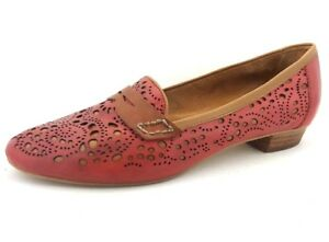 EVERYBODY-by-BZ-Moda-Women-039-s-Red-amp-Brown-Leather-Slip-ons-Loafers-36-5-6-5