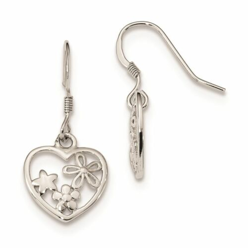 Sterling Silver Flowers and Star Heart Dangle Shepherd Hook Earrings MSRP $99