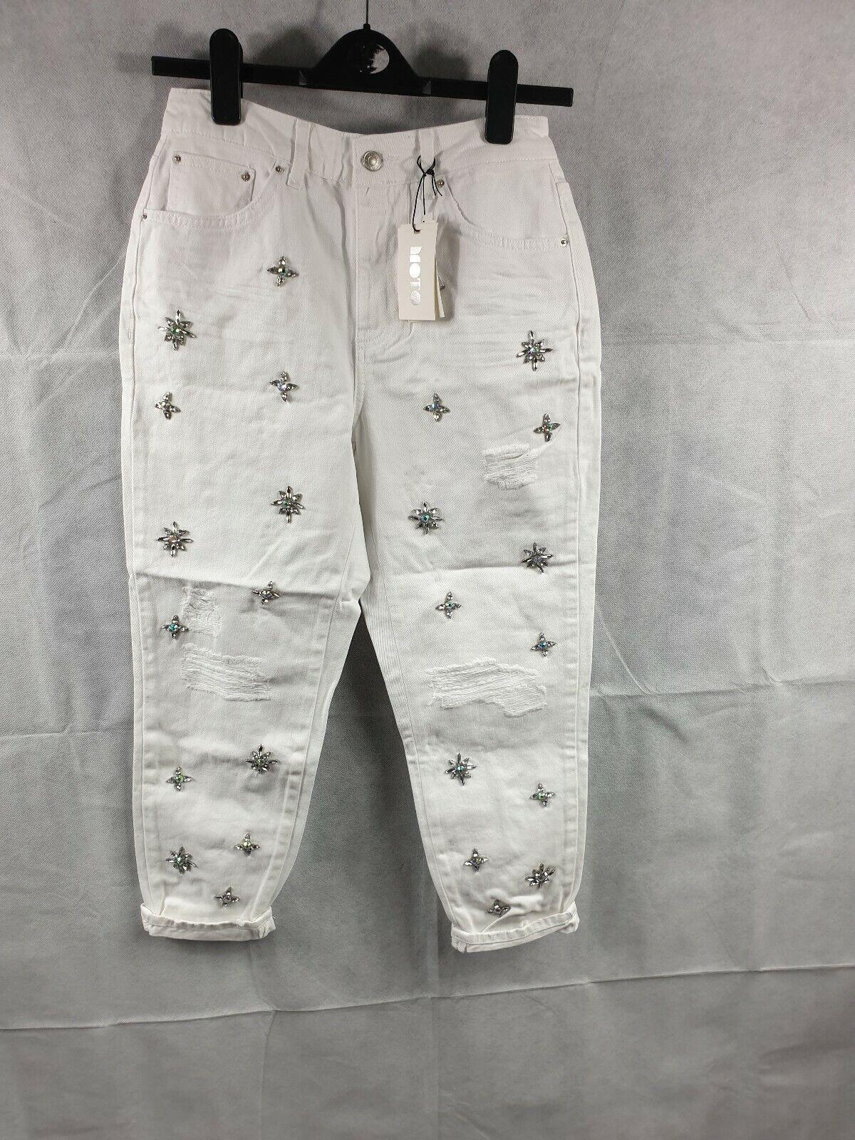 Topshop Moto  blancooo Petite piedras preciosas Rip mamá Denim Jeans Pantalones Talla 10 W28 L28  venta con descuento