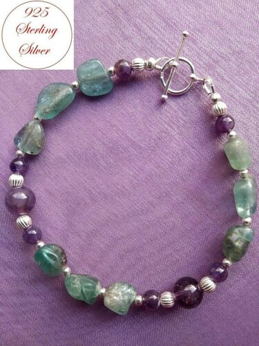 APATITE /& AMETHYST GEMSTONE BRACELET SOLID 925 Sterling Silver for WEIGHT LOSS