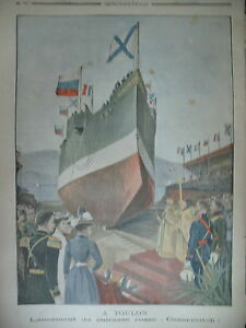 TOULON-ARSENAL-LANCEMENT-DU-CUIRASSe-RUSSE-CESAREVITCH-LE-PETIT-JOURNAL-1901