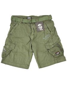 Yakuza-Premium-Herren-Cargo-Short-Kurze-Hose-Mit-Stickerei-Und-Guertel-Gruen-5099