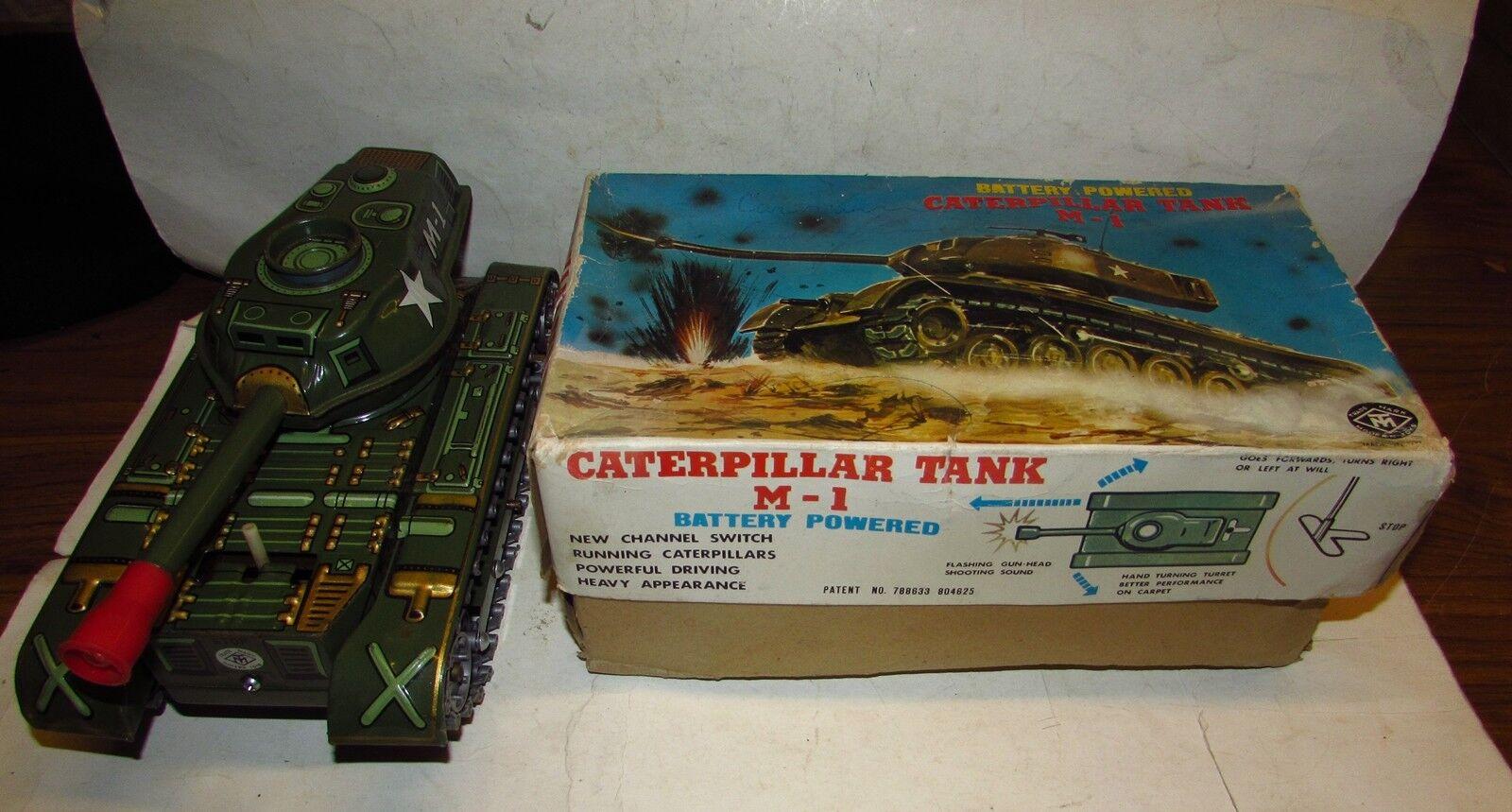 ordina ora i prezzi più bassi autoRO ARMATO CATERPILLAR TANK M-1 M-1 M-1 MODERN giocattoli(JAPAN)ANNI 60 SCATOLA tin giocattolo  gli ultimi modelli