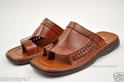 Men's Brown Sandals Slippers Shoes Slides Flip Flops Light Weight 7805