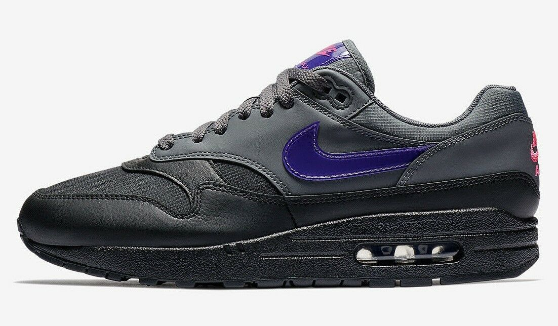 Nike Men's AIR MAX 1 FIERCE PURPLE shoes Dark Grey AR1249-002 c