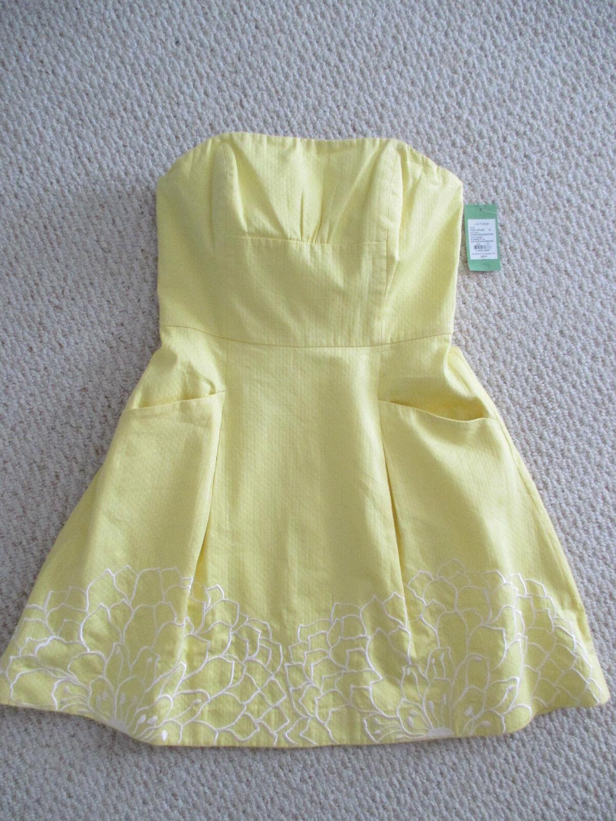 Lilly Pulitzer Starfruit Blossom Gelb Strapless Dress Größe 10 NWT 268.00