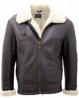 Men's Cream B3 Shearling Sheepskin World War 2 Bomber Leather Flying Jacket