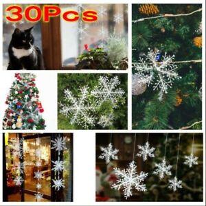 30PCS-Christmas-White-Snowflakes-Decorations-Xmas-Tree-Party-Ornaments