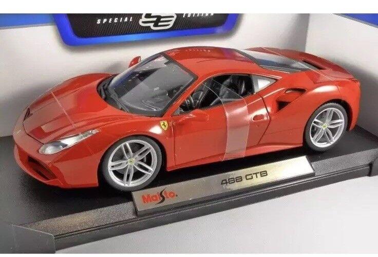 Maisto 1 18 Scale - Ferrari 488 GTB - Red - Diecast Model Car - Brand New