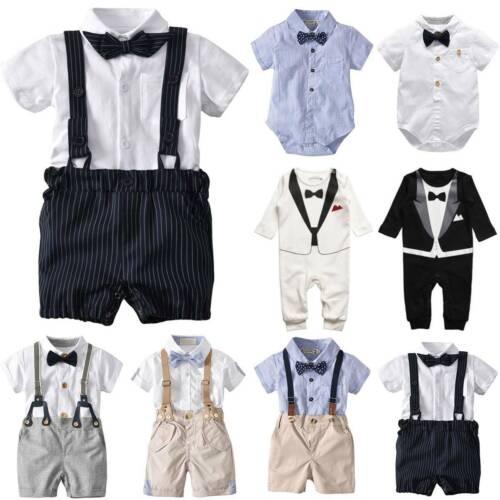Baby Boy Bow Tie Top Formal Jumpsuit Infant Kids Shirt Pants Clothes Outfits Set