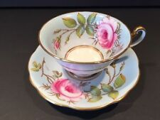 FOLEY Blue Hand Painted Cabbage Rose Tea Cup & Saucer Signed by A. Taylor V2955