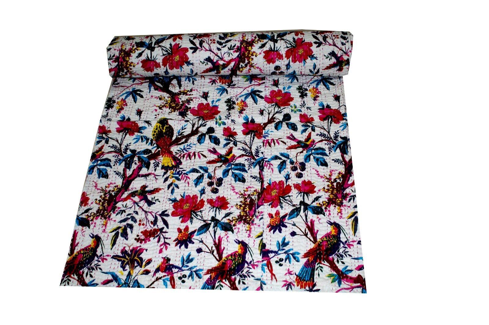 Handmade Quilt Vintage Kantha Bedspread Throw Cotton Blanket Gudari White Bird