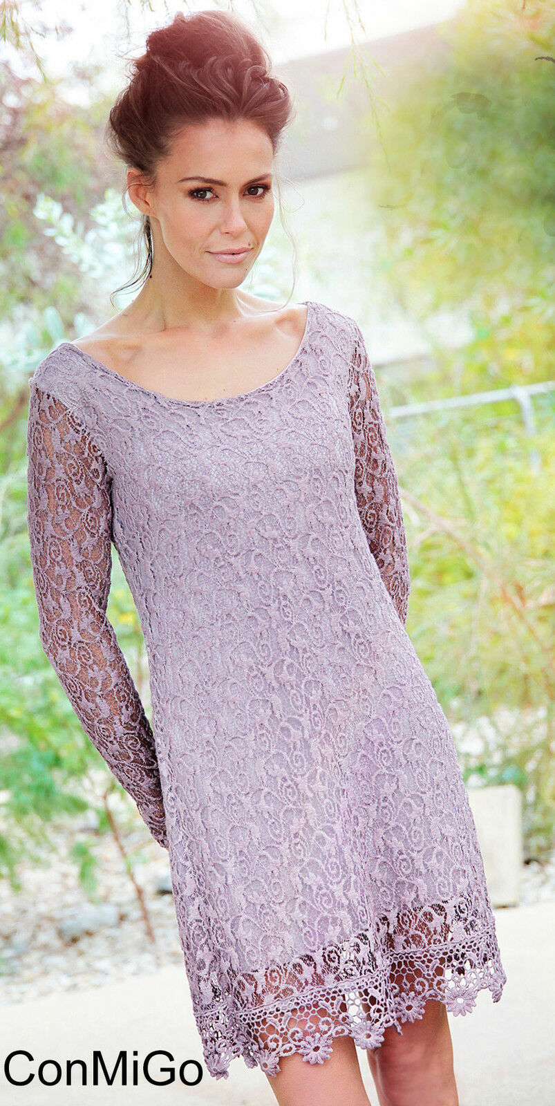 Wedding Party Dress -  Flattering lace dress - Dusky Pink - Made in