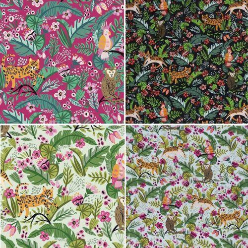 100/% Cotton Fabric Jungle Floral Flowers Tigers Monkey Parrot 140cm Wide