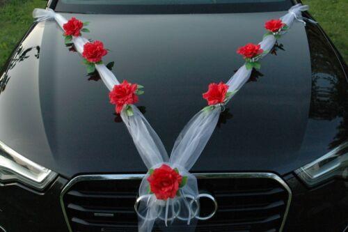 S Auto Schmuck Braut Paar Rose Deko Dekoration hochzeit autoschmuck ORGANZA M