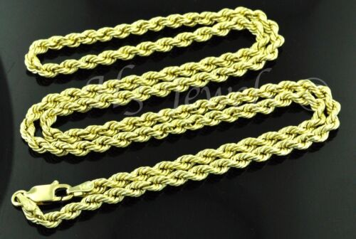 14k solid yellow gold hollow rope chain necklace 16 inches 4.50 grams #3531
