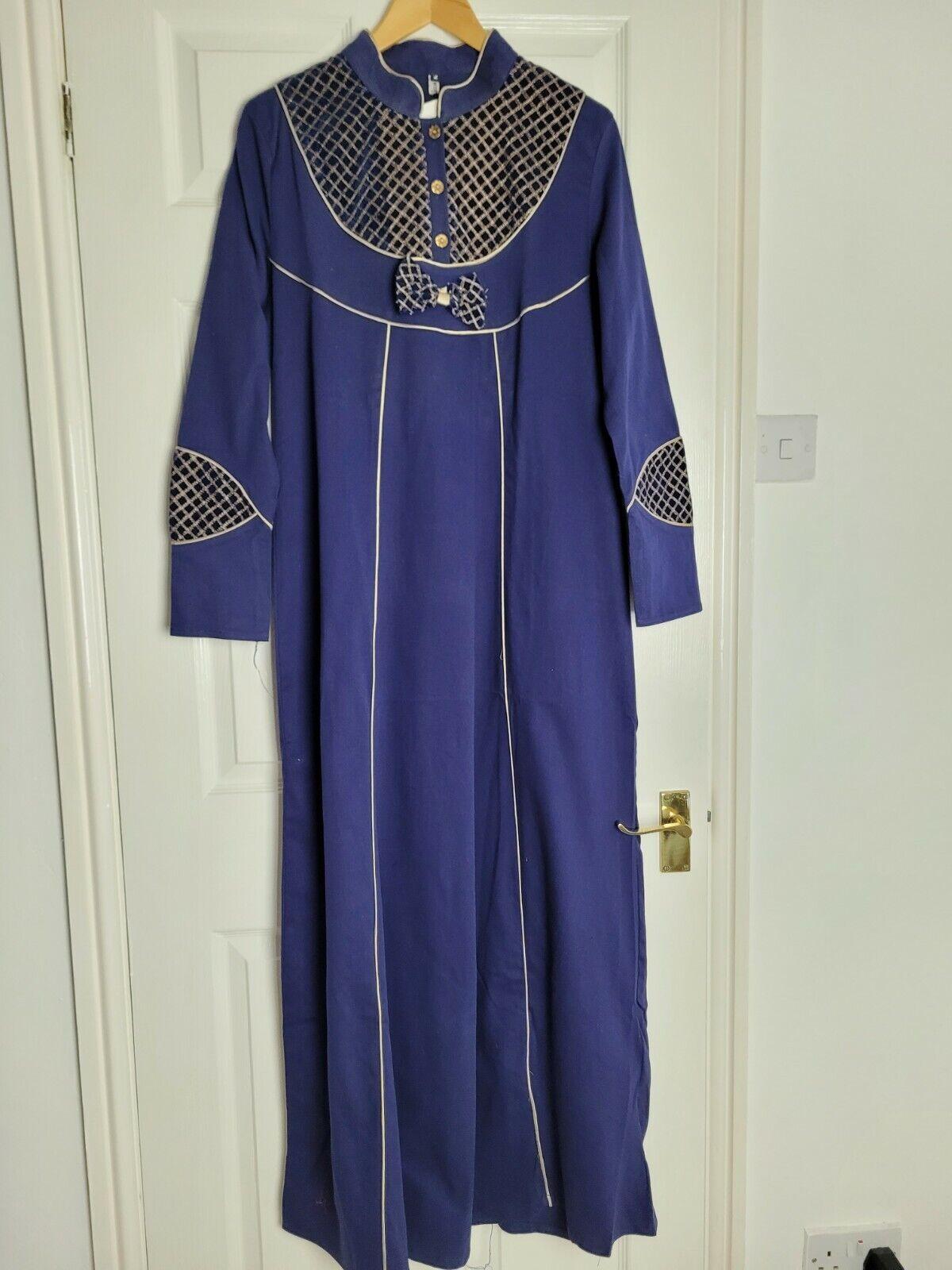 Dubai Abaya Arabian Muslim Length 56 Size Large Eid Navy Blue