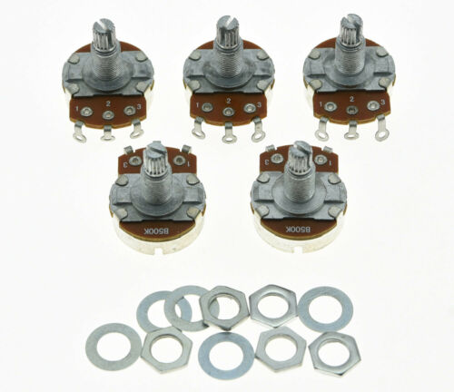 Pack of 5 Guitar Audio Pots 24mm Large Base Long Shaft Potentiometers