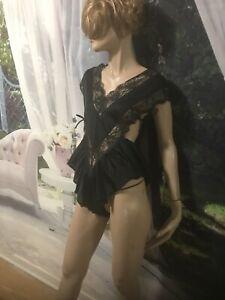 Vintage-Queentex-Sexy-Teddy-Romper-Black-Lingerie-Size-S