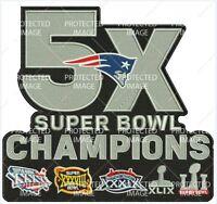 Super Bowl 51 Champs England Patriots 5x Champions Large Patch 7 X 6 1/2