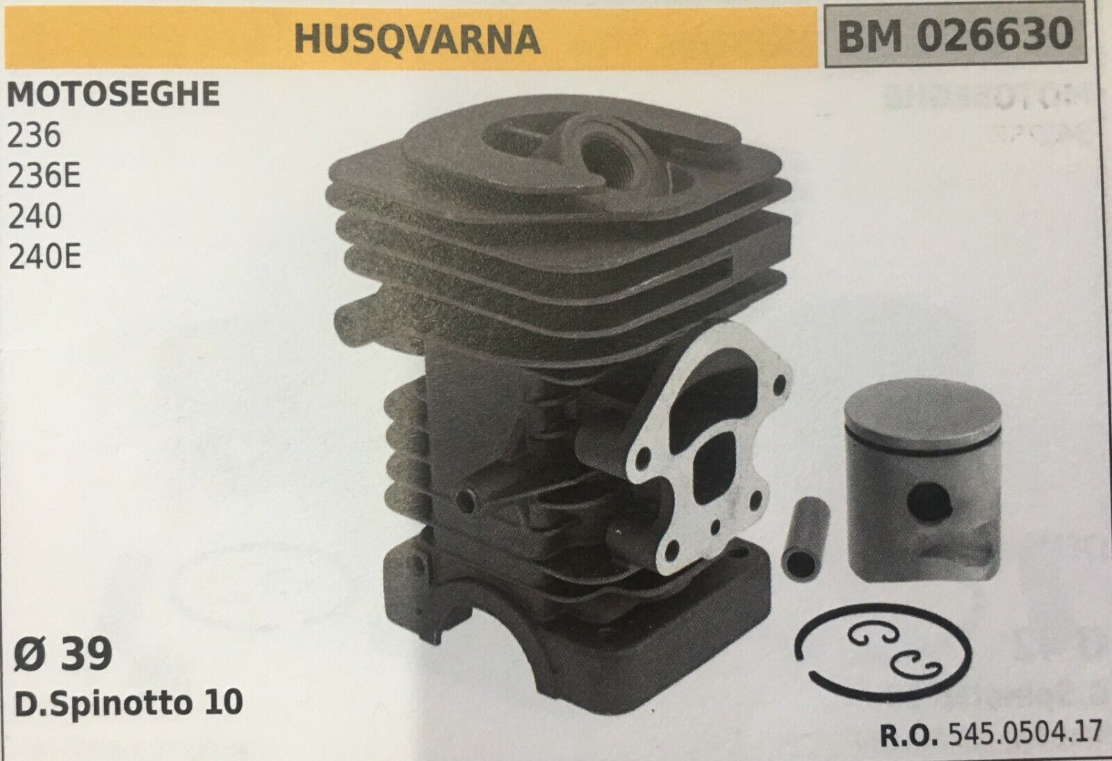 Cilindro Completo por Pistón y Segmentos Brumar BM026630 Husqvarna