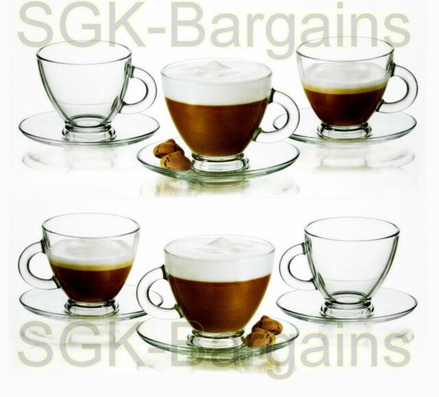 12Pc Clear Glass Espresso Coffee Tea Set 6 Cups6 Saucers Expresso Glassware 95ml