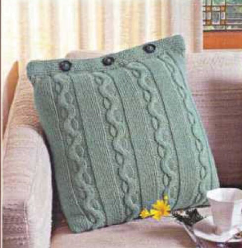 Knitting Pattern Roman Columns Aran cushion 18 x18 when done