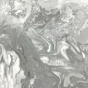 Marble Swirl Effet Pailleté Papier Peint Gris Argent Métallique Brillant Texturé-afficher Le Titre D'origine