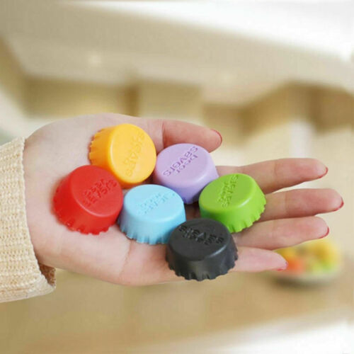 6X Colorful Cute Silicone Lids Reusable Bottle Cap Cover Sealer Savers Beer