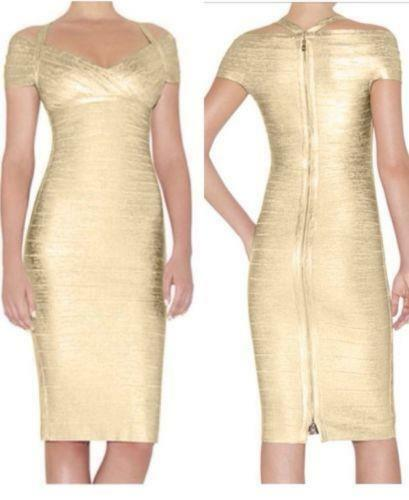 FAMOUS  Bandage  gold Foil  Dress  INSPIRED by H. Leger  SZ  L