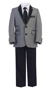 Boys Toddler Kid Teen 4pc Formal Premium Tuxedo Suit SLIM FIT sz 2-20 Black/GRAY