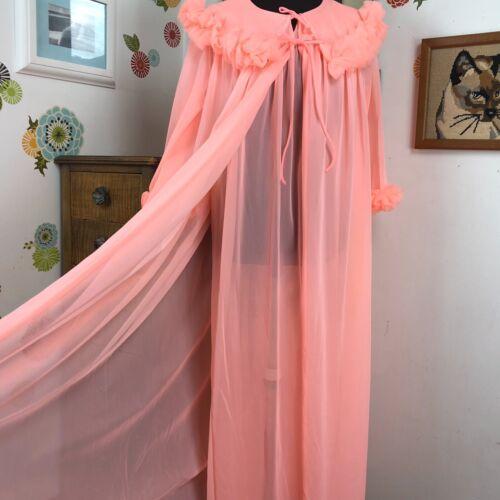 Vintage Peignoir Set 1960s Peach Negligee and Robe