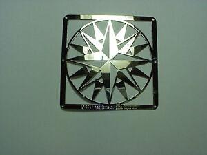 Mini-Barn-Quilt-Metal-2-5-034-Silver-Quilt-Block-Mariners-Compass-Pattern