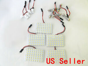 10 X White 48-SMD Auto Car Interior led panel dome light T10 & Festoon Adapter