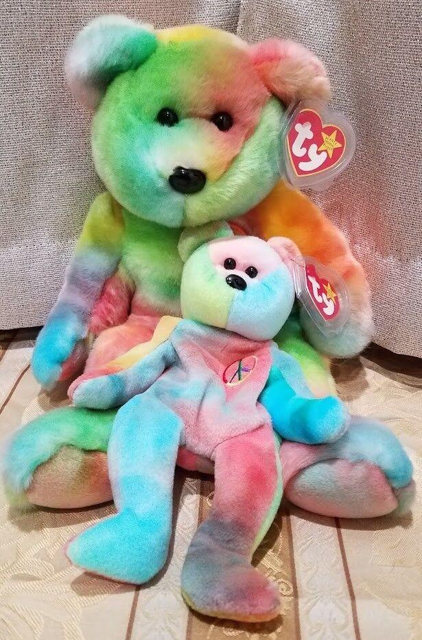 RARE Ty Beanie Baby & Beanie Buddy -  Peace  Tie-Dye Bears - MWMT w ERRORS