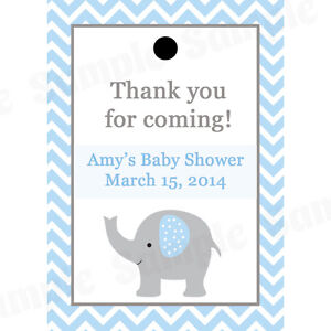 Personalized White and Blue Baby Shower Tags Set of 20 Baby Boy Elephant Tags