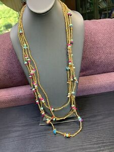 """Bohemian Necklace Multi  4 Strand Glass Gold Seed Beads With Lapis MOP 36"""" NWT"""
