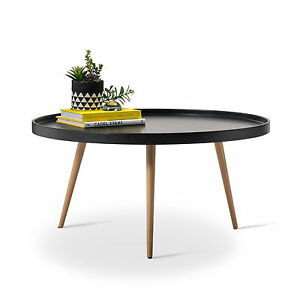 Black Round Scandinavian Tray Coffee Table Retro Modern Design W Wood Legs Ebay