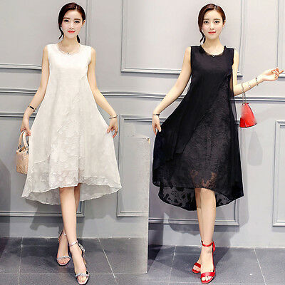 new summer Korean fashion temperament elegant shitsuke irregular chiffon dress