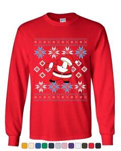 Shirts T-Shirts Men's Dabbing Santa Claus Black T Shirt Ugly Sweater Christmas Holiday Xmas Rave