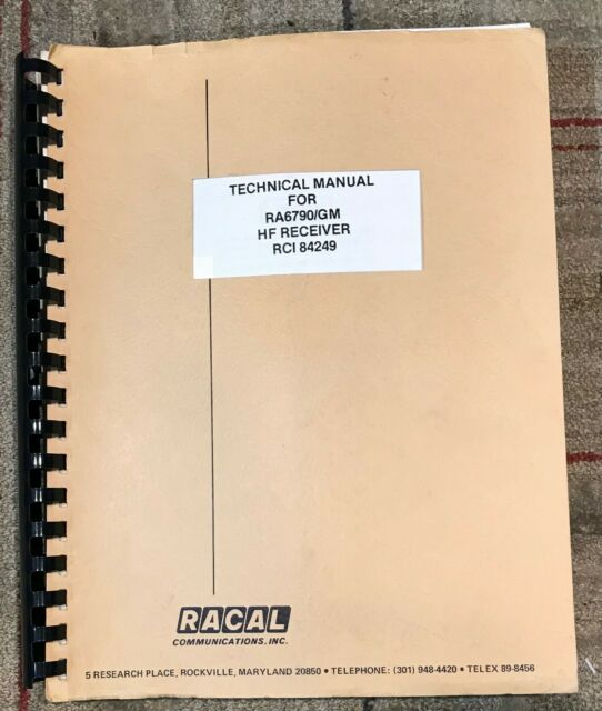 Original Service Manual Racal Ra6790 Hf Receiver Rci