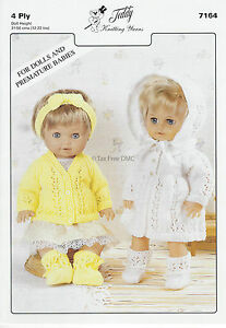 Vat Free Hand Knitting Pattern 4ply Premature Baby Doll Cardigan